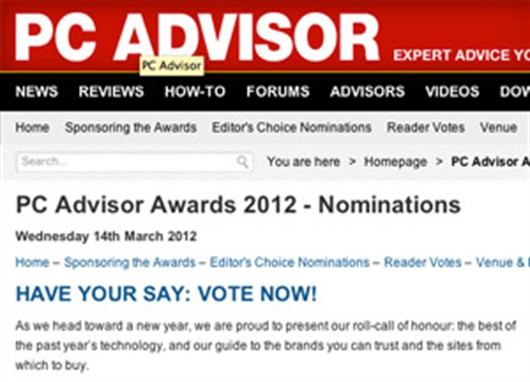 PC Advisor Announces rCube as Nominee in 2012 Awards