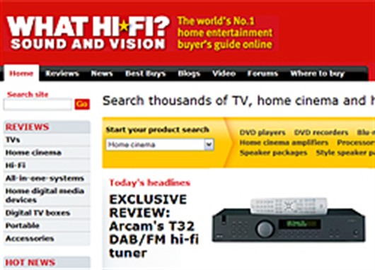 Whathifi.com Award T32 Tuner full Five Stars!