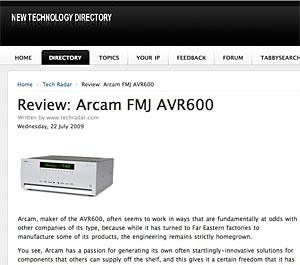 TechRadar on AVR600 -