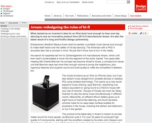 Design Council Feature Article on Arcam Design