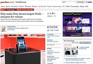 Observer newspaper interview Arcam MD about the rCube