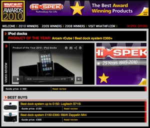 rCube wins top What HiFi magazine award