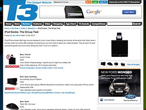 rCube wins T3 magazine iPod dock group test